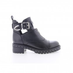 Bronx Black/silver Leather Ankle Boot