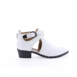 Bronx White Leather Ankle Boot