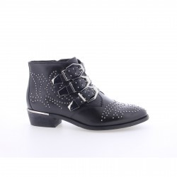 Bronx Black Leather Ankle Boot