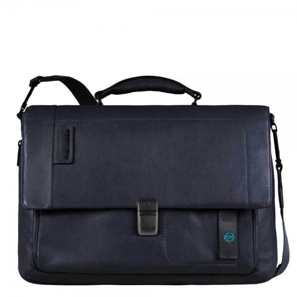Piquadro Pulse Flap Over Expandable Computer Messenger night blue